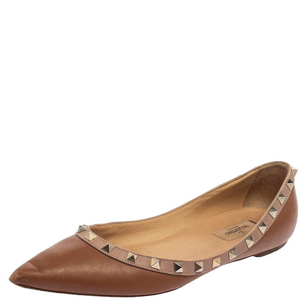 Valentino Brown/Beige Leather Rockstud Ballet Flats Size 39.5
