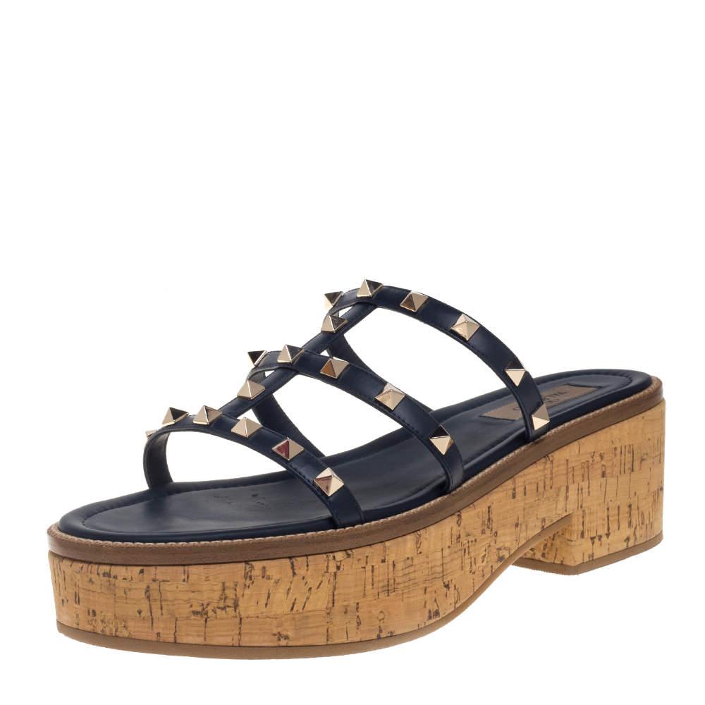 Valentino Blue Leather Rockstud Cork Wedge Platform Sandals Size 40