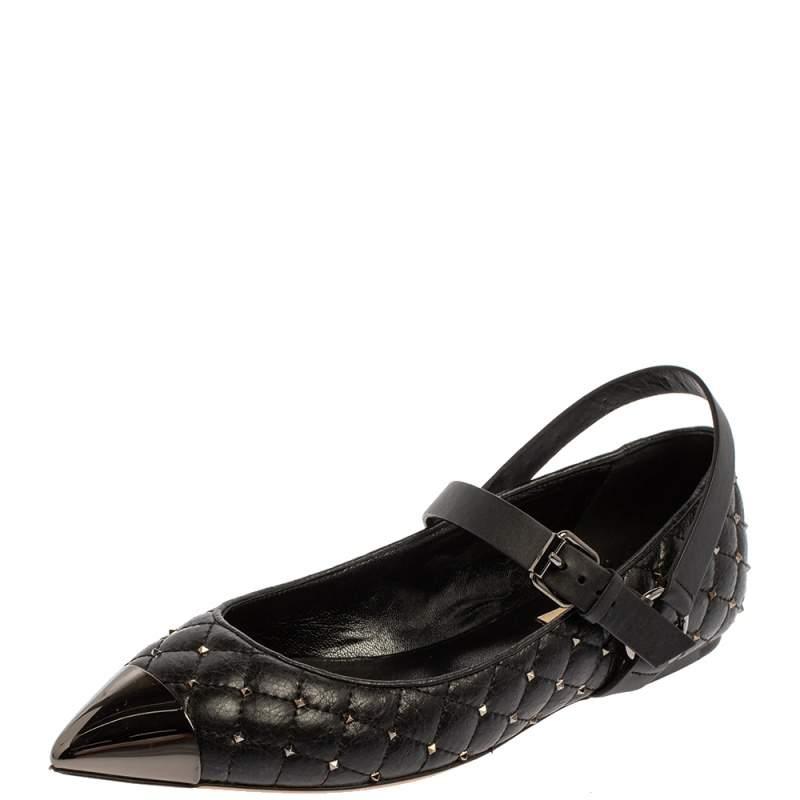 Valentino Black Quilted Leather Rockstud Metal Cap Toe Ballerina Slingback Flat Sandals Size 38