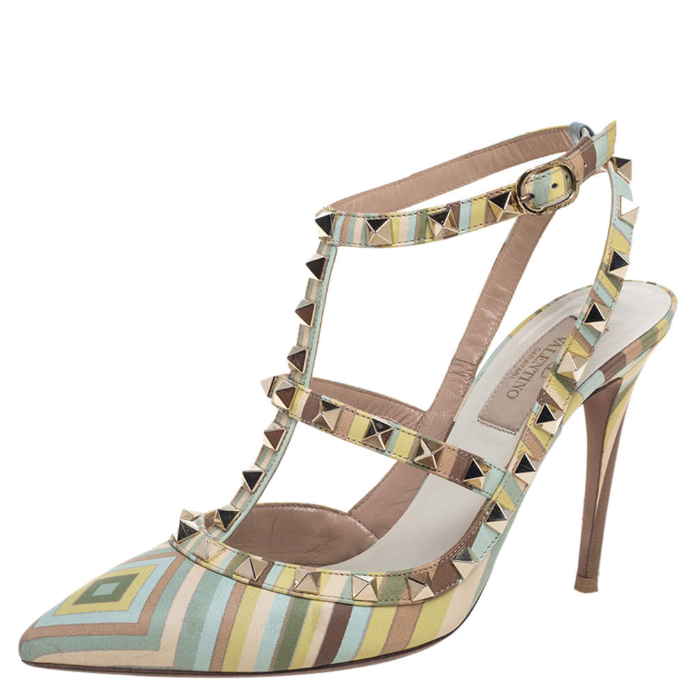 Valentino Multicolor Leather Rockstud Accents T Strap Sandals Size 37