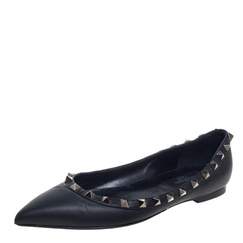 Valentino Black Leather Accent Rockstud Flats Size 35