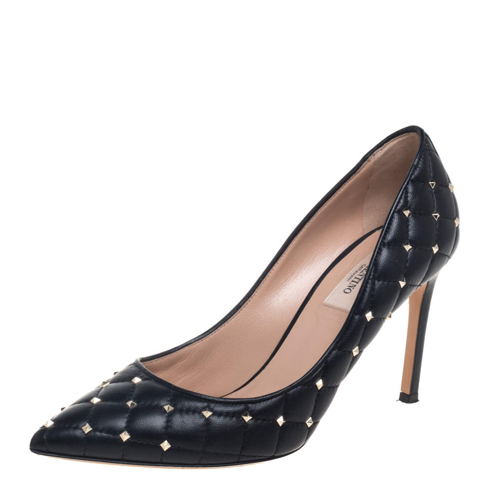 Valentino Black Quilted Leather Studded Pointed Toe Pumps Size 37.5