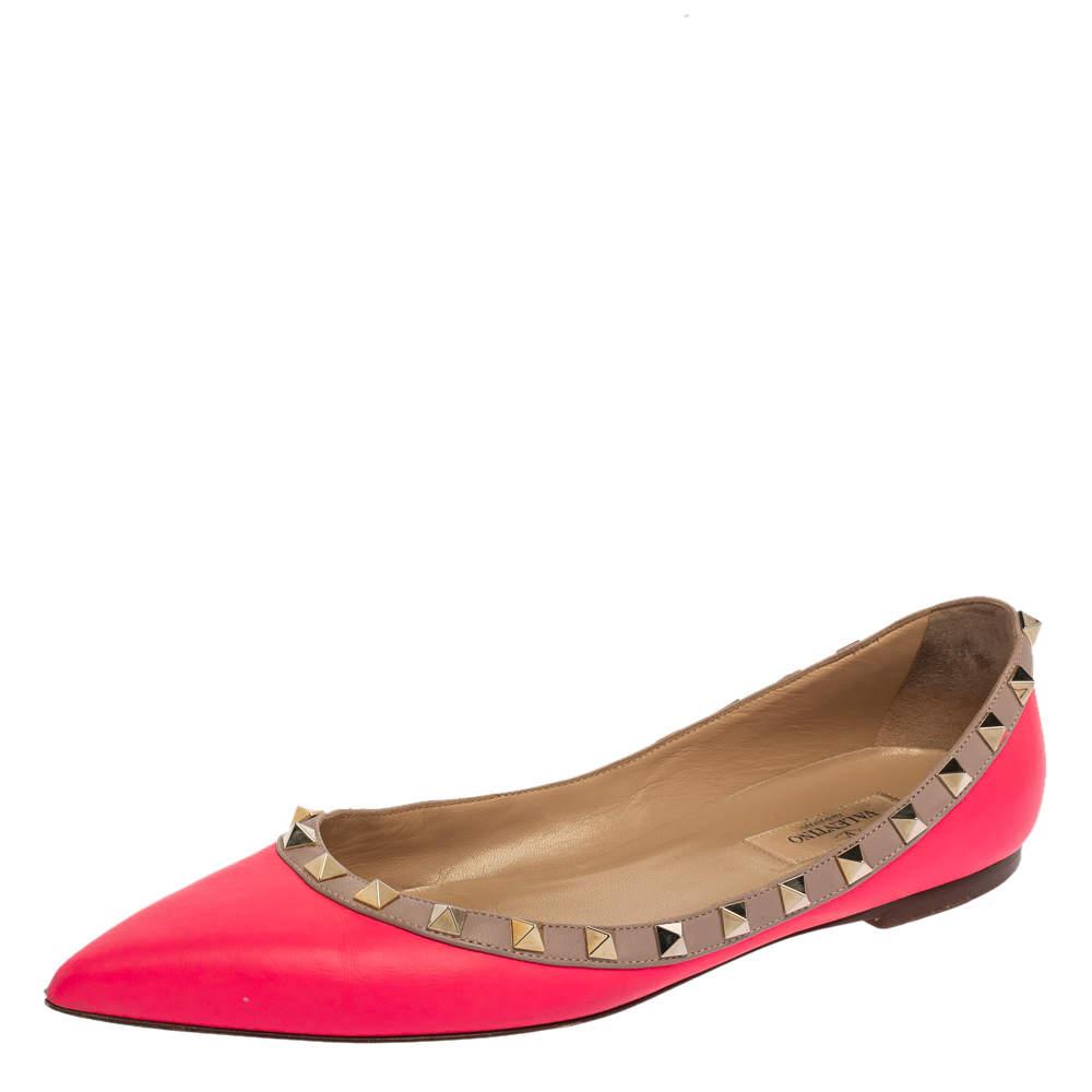 حذاء فلات باليه مقدمة مدببة روكستد جلد وردى نيون مقاس 39