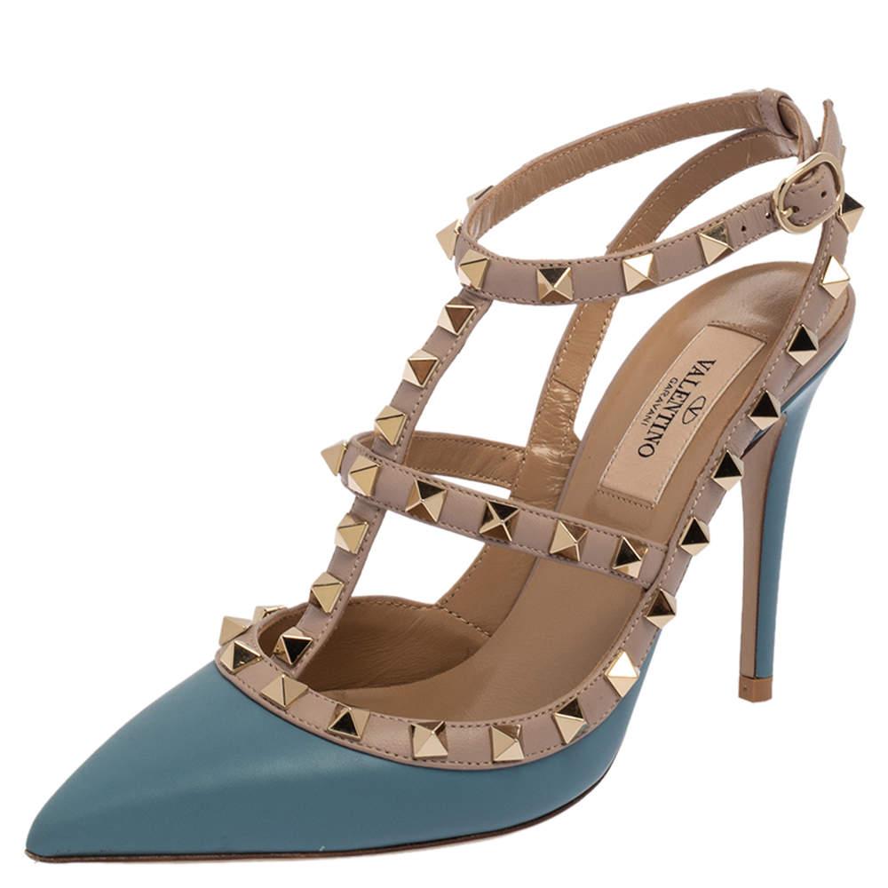 Valentino Blue/Beige Leather Rockstud Ankle Strap Sandals Size 36