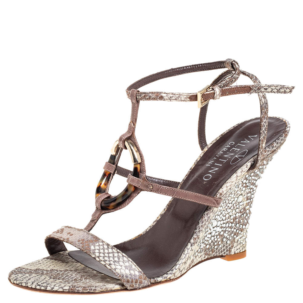 Valentino Beige Snake Effect Fabric And Crystal Embellished Wedge Sandals Size 40