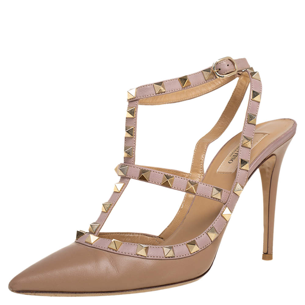 Valentino Beige Leather Rockstud Pumps Size 40