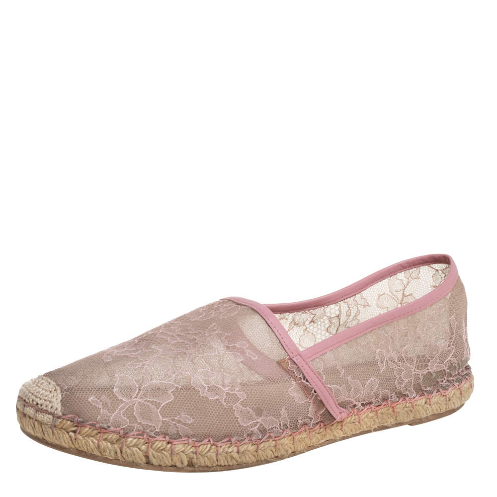 Valentino Beige/Pink Leather And Lace Espadrilles Flats Size 40