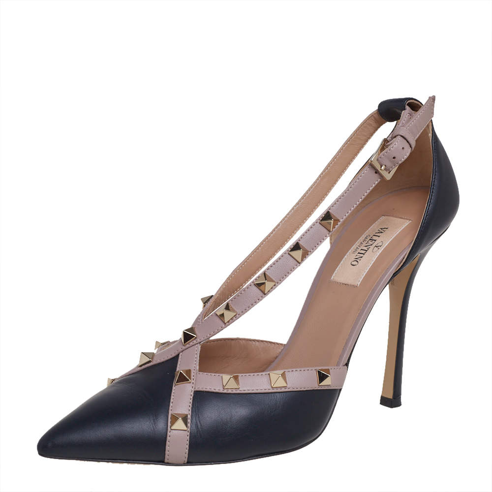 Valentino Black/Beige Leather New Rockstud D'orsay Pointed Toe Pumps Size 39.5