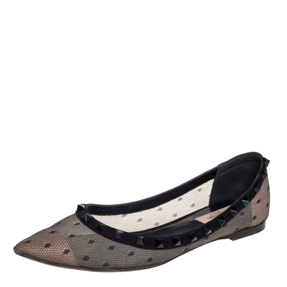 Valentino Black  Lace And Suede Rockstud Ballet Flats Size 38