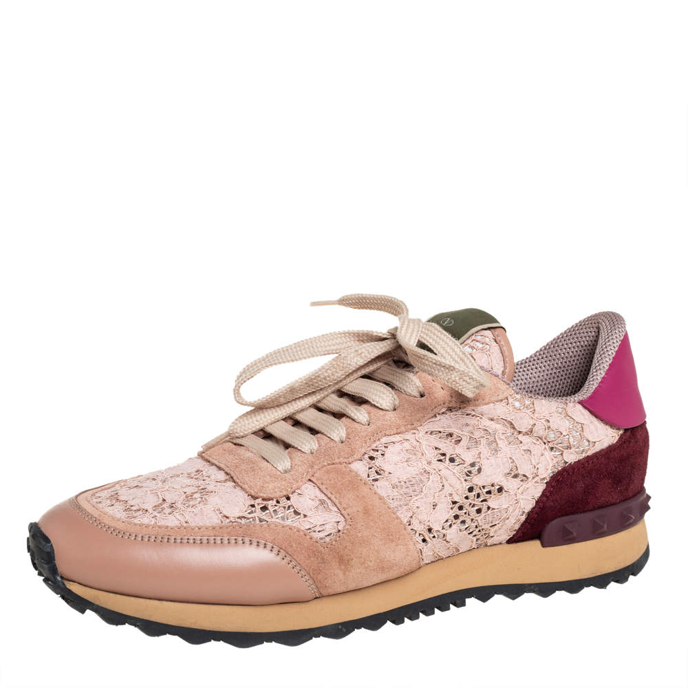 Valentino Pink Lace And Leather Rockrunner Sneakers Size 39.5
