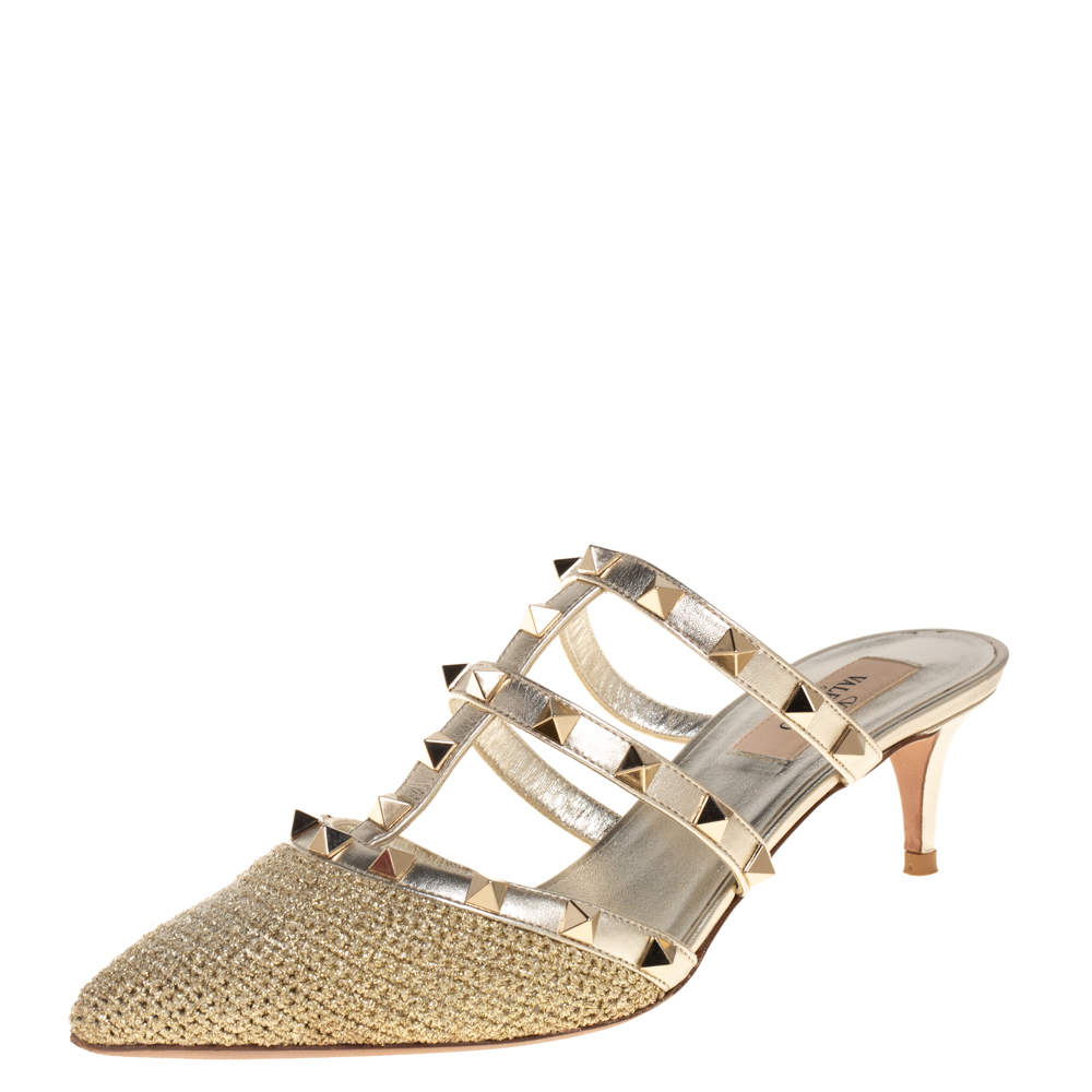 Valentino Gold Crochet And Leather Rockstud Mule Sandals Size 37.5