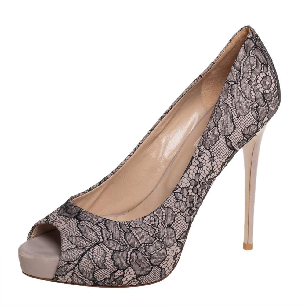 Valentino Brown/ Black Lace Peep Toe Platform Pumps Size 39
