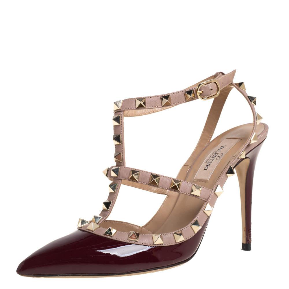 Valentino Burgundy/Beige Patent Leather Rockstud  Pumps Size 37