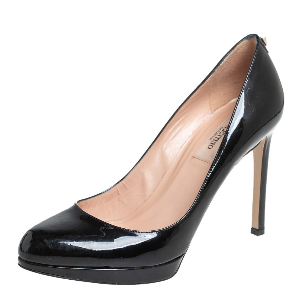 Valentino Black Patent Leather Pointed Toe Platform Pumps Size 36.5