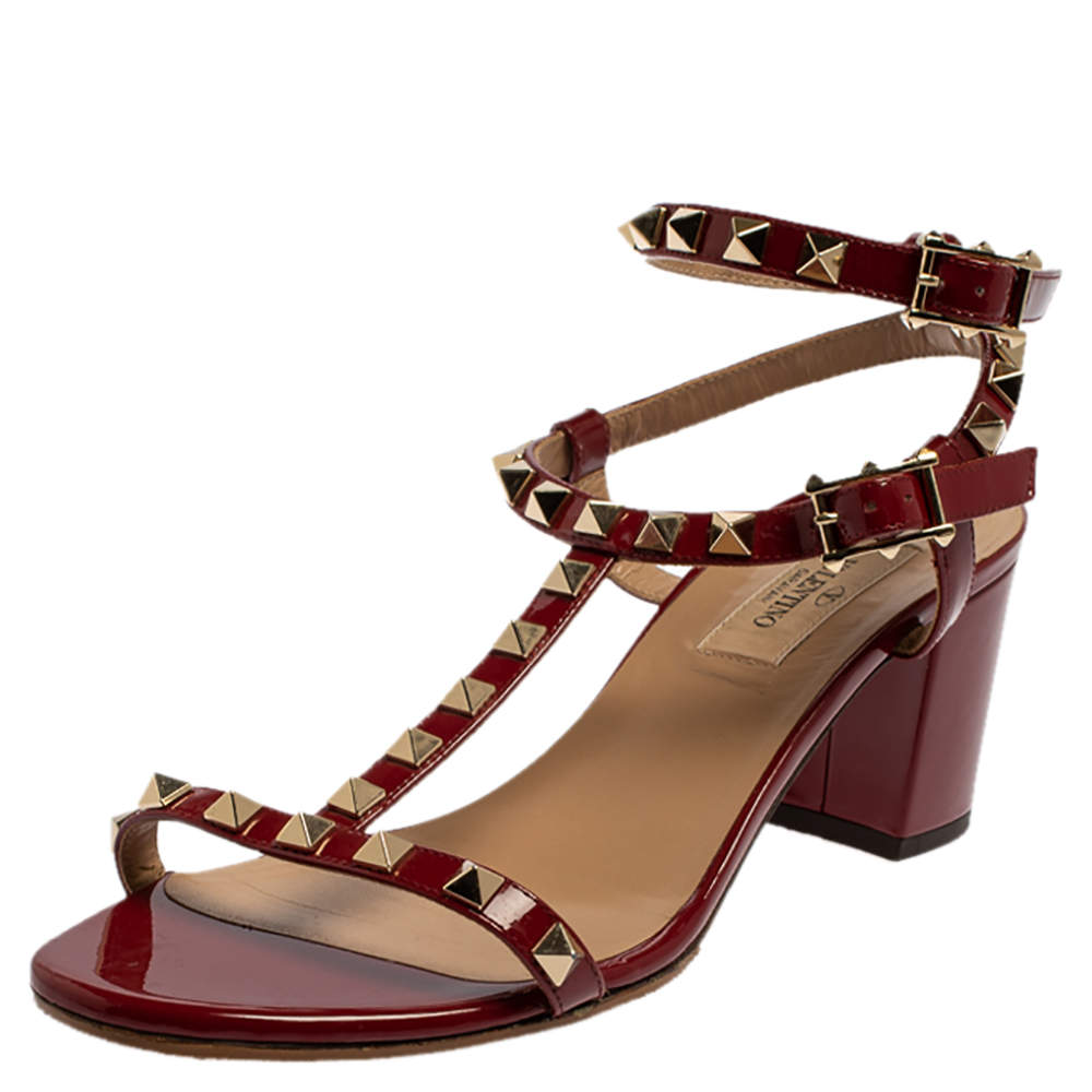 Valentino Red Patent Leather Rockstud Block Heel Ankle Strap Sandals Size 38