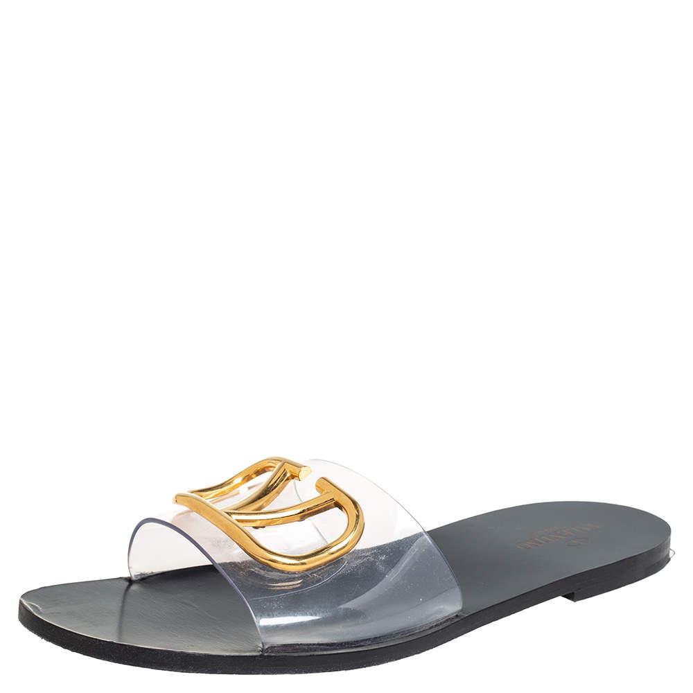 Valantino Black PVC Vlogo Slide Sandals Size 40