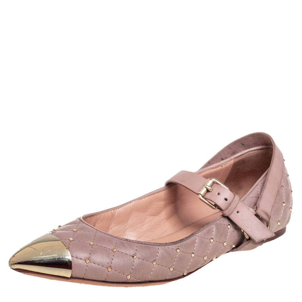Valentino Pink Quilted Leather Rockstud Metal Cap Toe Ballerina Flats Size 37.5