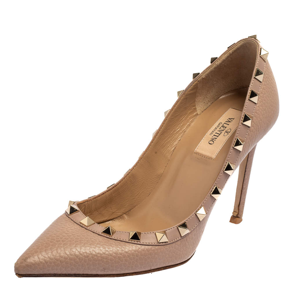 Valentino Beige Leather Rockstud Pointed Toe Pumps Size 37