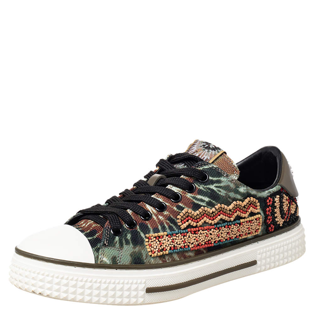 Valentino Multicolor Canvas And Rubber Cap Toe Embellished Low Top Sneakers Size 38