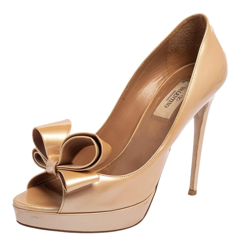 Valentino Metallic Beige Patent Leather Bow Peep Toe Platform Pumps Size 38.5
