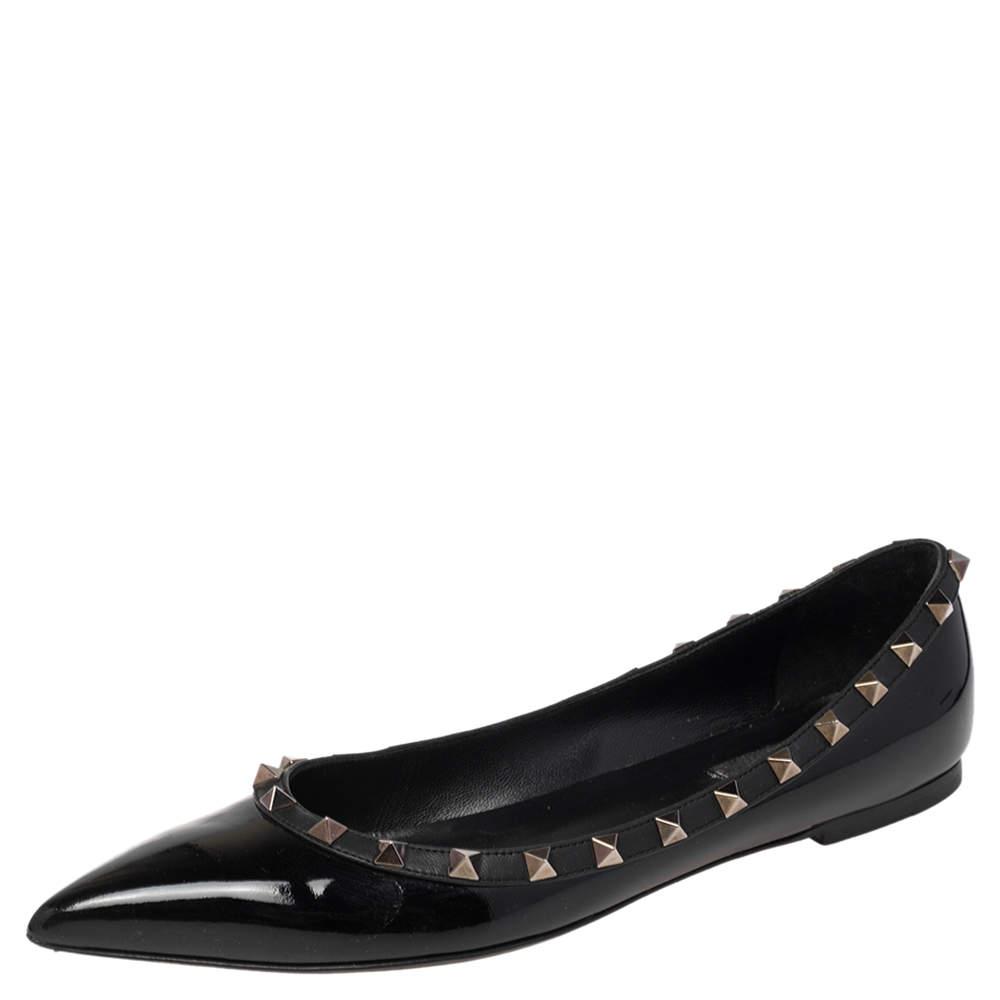 Valentino Black Patent Leather Rockstud Ballet Flats Size 39.5