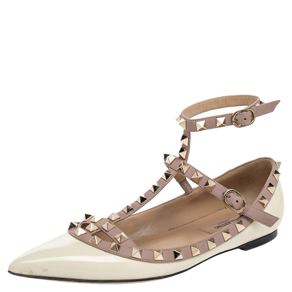 Valentino Cream/Beige Patent And Leather Rockstud Flats Size 36.5