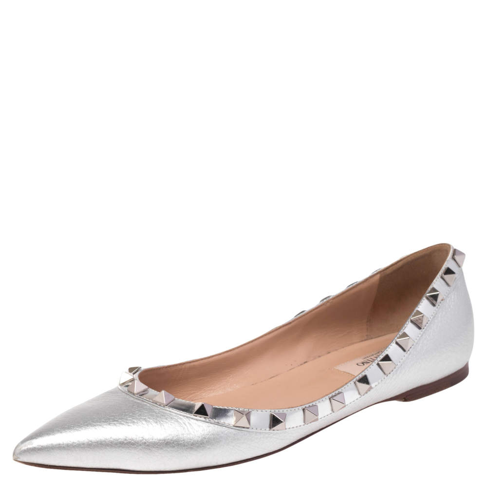 Valentino Silver Leather Rockstud Ballet Flats Size 36.5