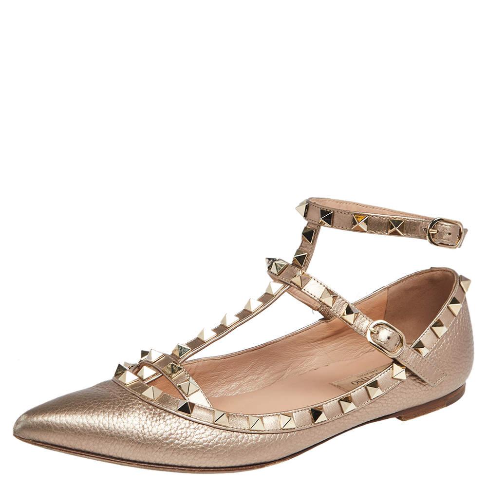 Valentino Gold  Leather Rockstud Ankle Strap Ballet Flats Size 37.5