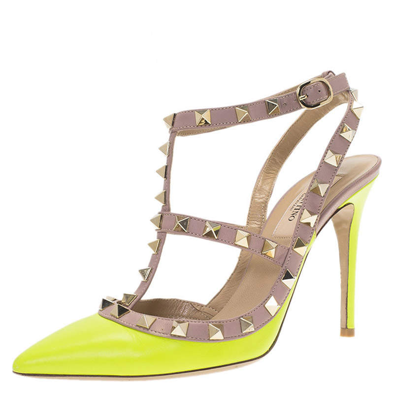Valentino Neon Yellow and Beige Leather Rockstud Sandals Size 36.5