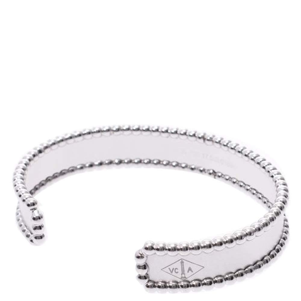 Van Cleef & Arpels Perlee Cuff 18K White Gold Bracelet