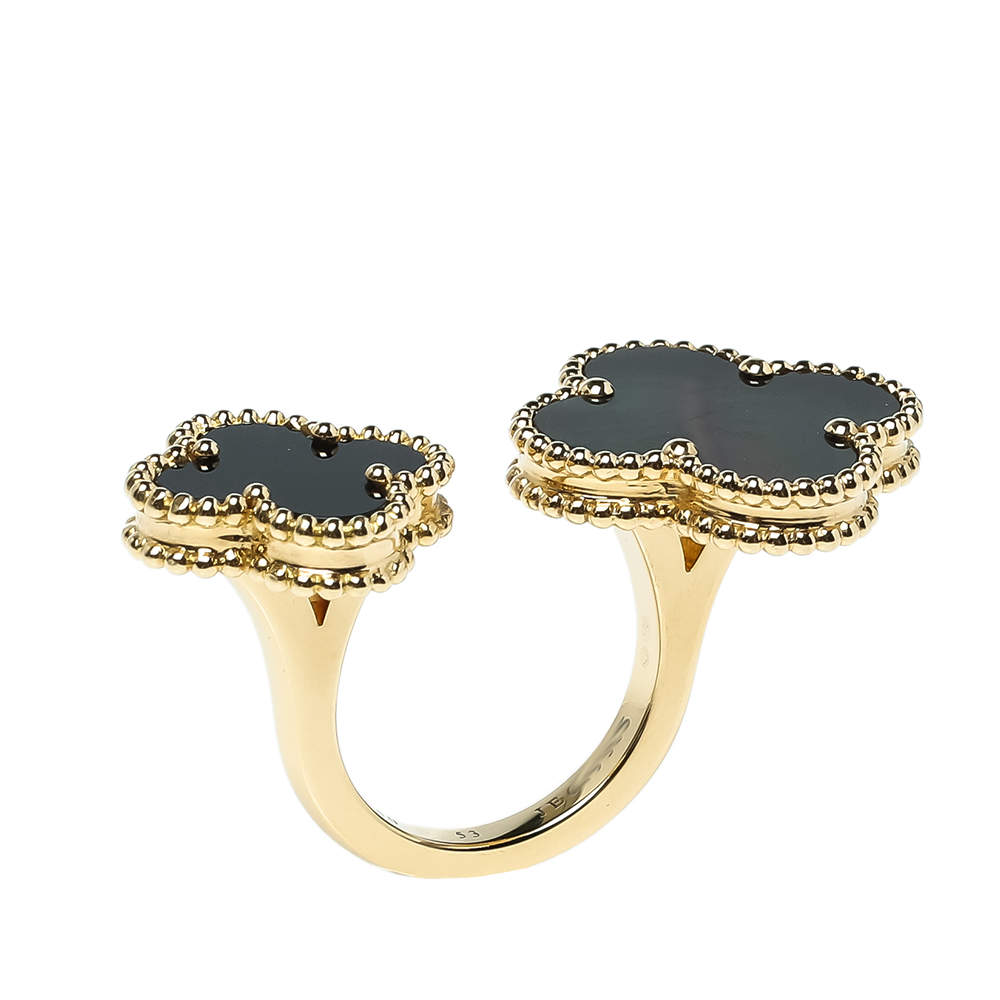 Van Cleef & Arpels Magic Alhambra Between the Finger Gemstone Inlay 18K Yellow Gold Cocktail Ring Size 53