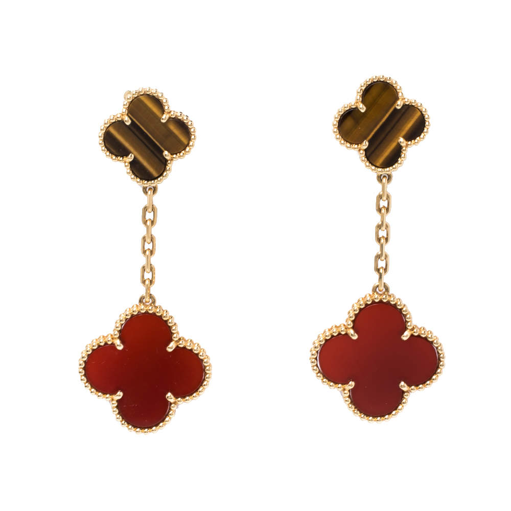Van Cleef & Arpels Magic Alhambra Carnelian Tiger's Eye 2 Motifs 18K Yellow Gold Earrings