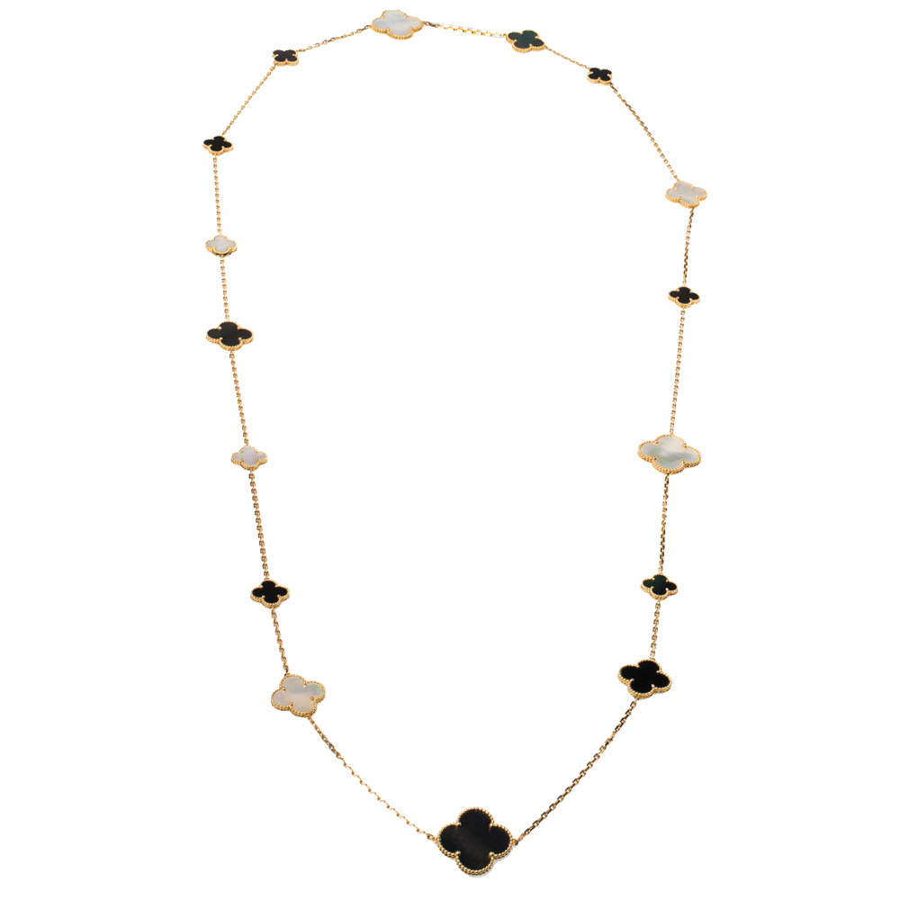 Van Cleef & Arpels Magic Alhambra 16 Motif Mother of Pearl Onyx 18K Yellow Gold Long Station Necklace