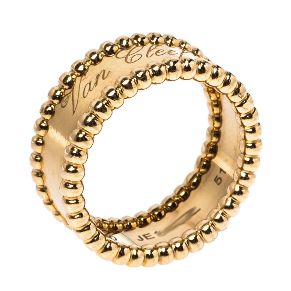 Van Cleef & Arpels Perlée Signature 18K Yellow Gold Ring Size 51