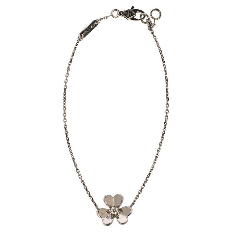 Van Cleef & Arpels Frivole Diamond 18K White Gold Mini Bracelet