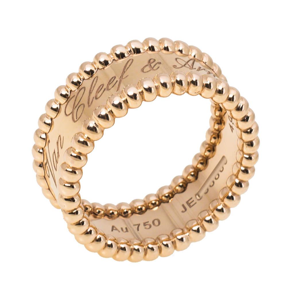 Van Cleef & Arpels Perlée Signature 18K Rose Gold Ring Size 49