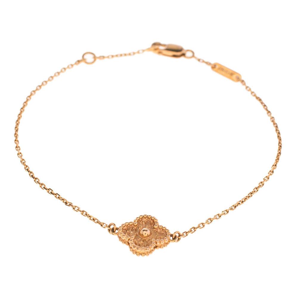 Van Cleef & Arpels Sweet Alhambra Textured 18k Rose Gold Bracelet