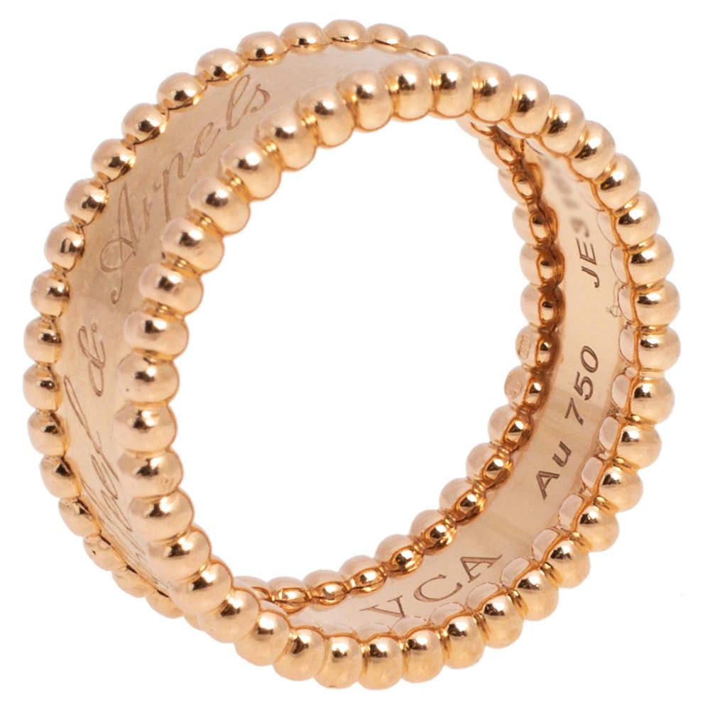 Van Cleef & Arpels Perlee 18K Rose Gold Ring Size 52