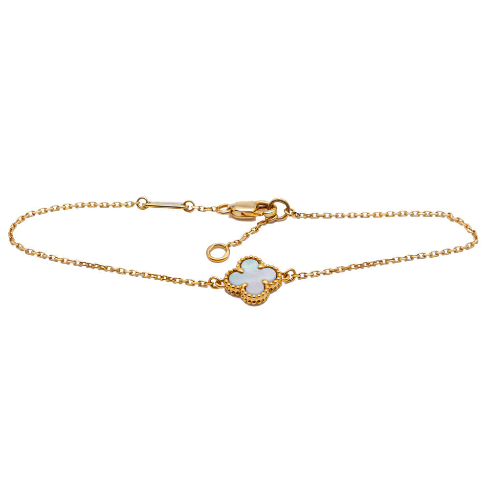 Van Cleef & Arpels Sweeet Alhambra Mother of Pearl Yellow Gold Bracelet Size 16