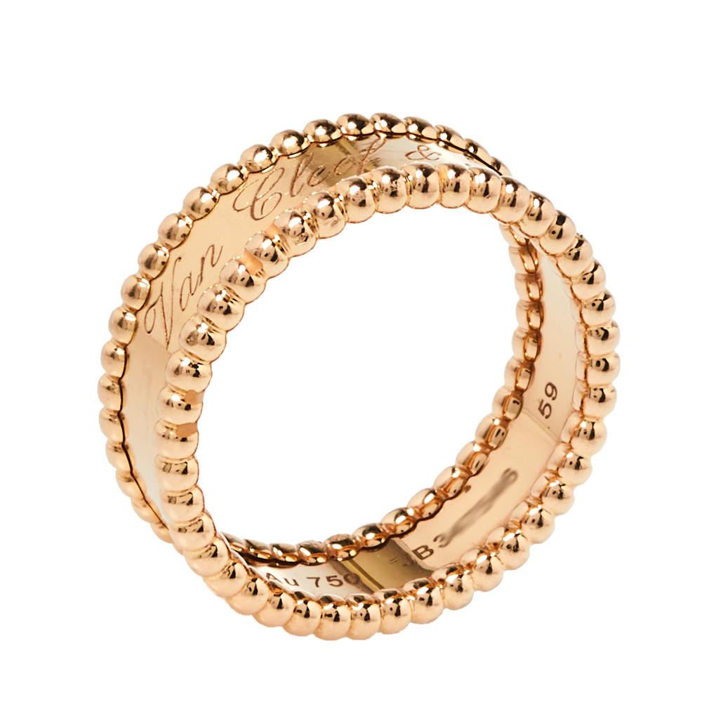 Van Cleef & Arpels Perlee Signature 18K Rose Gold Band Ring Size 59