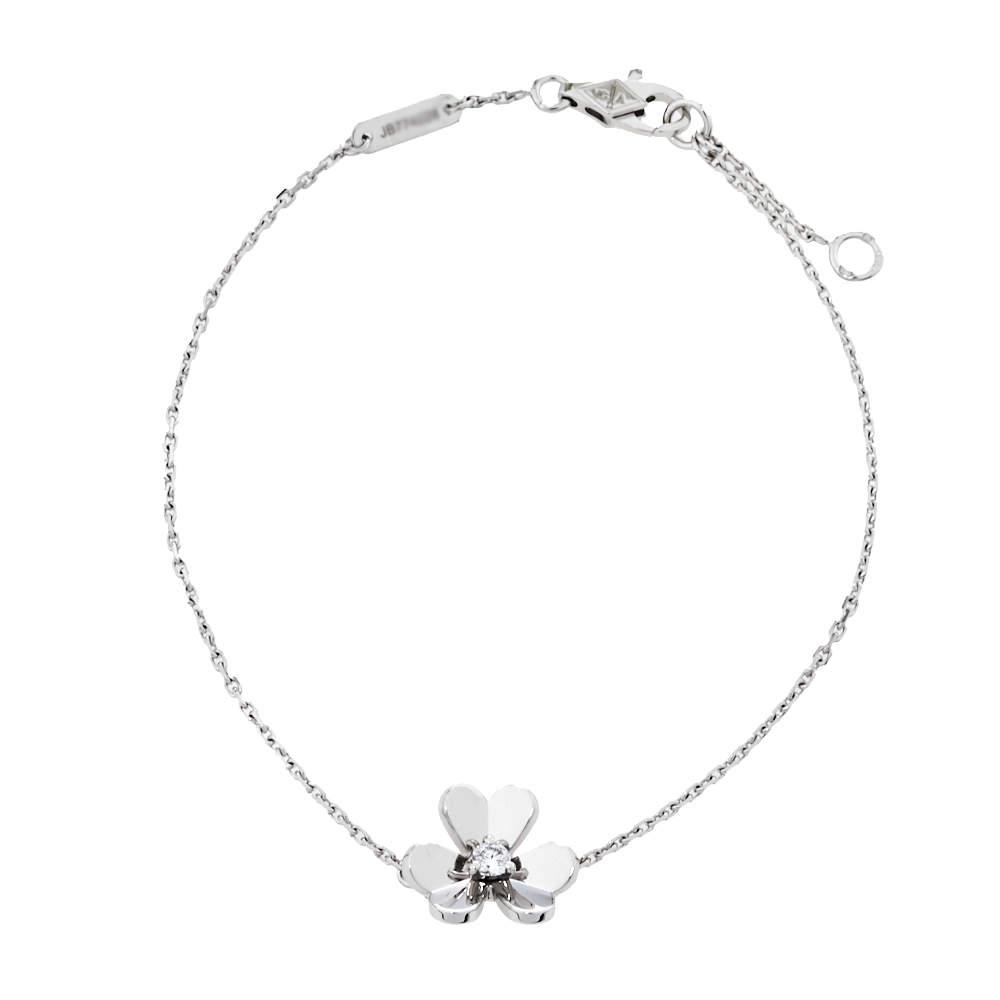 Van Cleef & Arpels Frivole Diamond 18K White Gold Mini Model Bracelet
