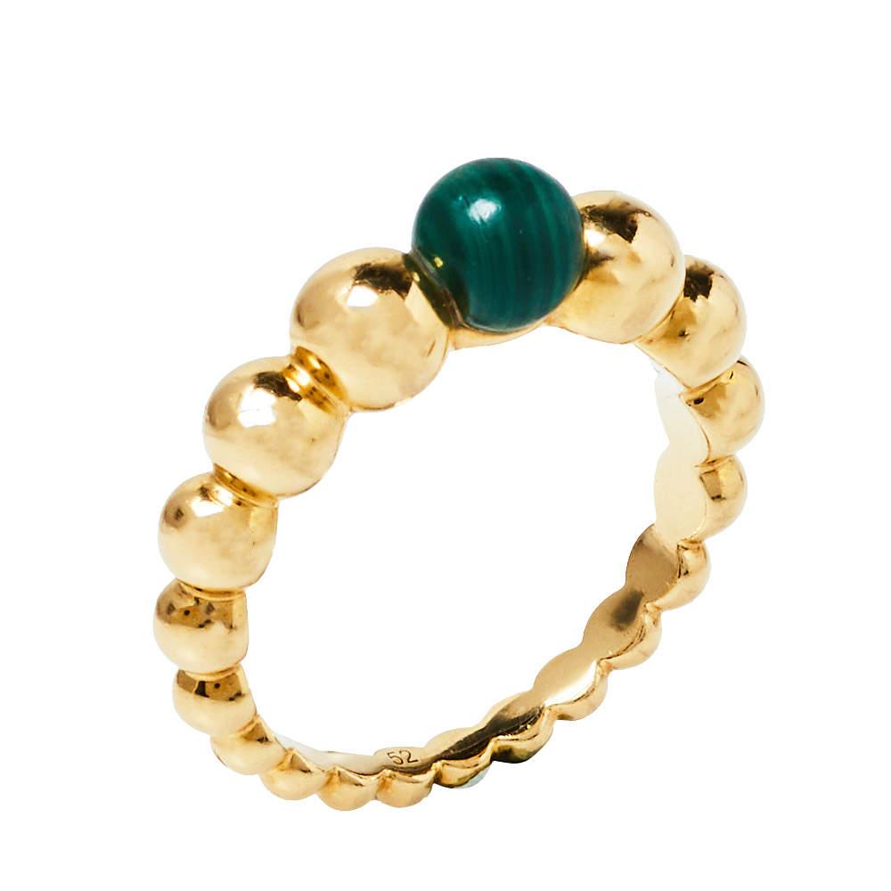 Van Cleef & Arpels Perlee Couleurs Malachite 18K Yellow Gold  Ring Size 52