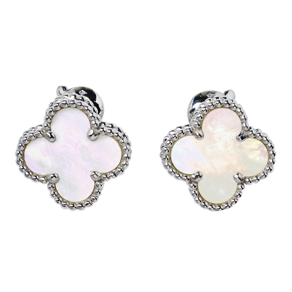 Van Cleef & Arpels Vintage Alhambra Mother of Pearl 18K White Gold Stud Earrings