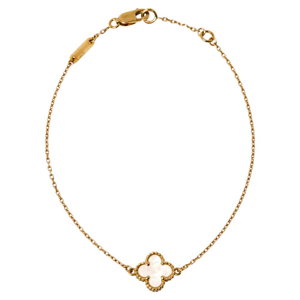 Van Cleef & Arpels Sweet Alhambra Mother of Pearl 18K Yellow Gold Bracelet