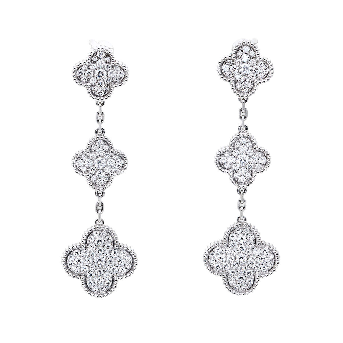Van Cleef & Arpels Magic Alhambra Diamond 18K White Gold Earrings