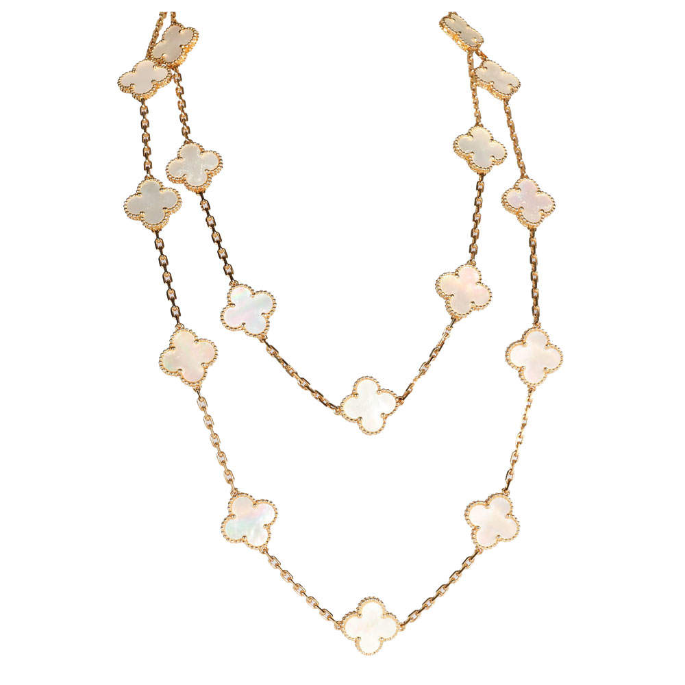 Van Cleef & Arpels 18K Yellow Gold Alhambra Mother Of Pearl 20 Motifs Necklace