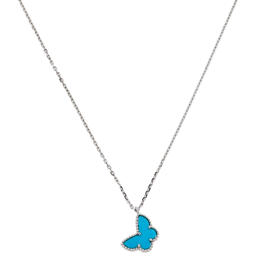 Van Cleef & Arpels Sweet Alhambra Butterfly Turquoise 18K White Gold Pendant Necklace