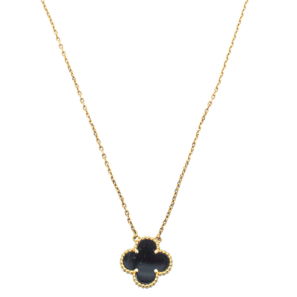 Van Cleef & Arpels Vintage Alhambra Onyx 18K Yellow Gold Pendant Necklace