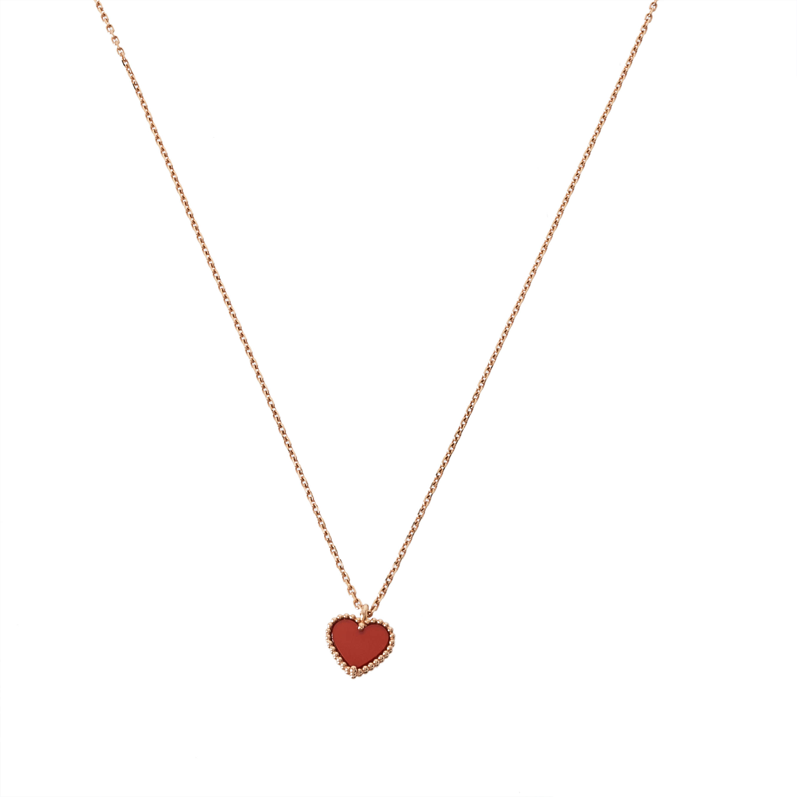 Van Cleef & Arpels Sweet Alhambra Carnelian 18K Rose Gold Heart Pendant Necklace