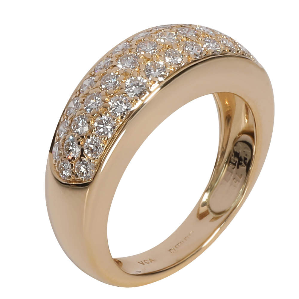 Van Cleef & Arpels 18K Yellow Gold Diamond Vintage Evolution Band Ring Size EU 49